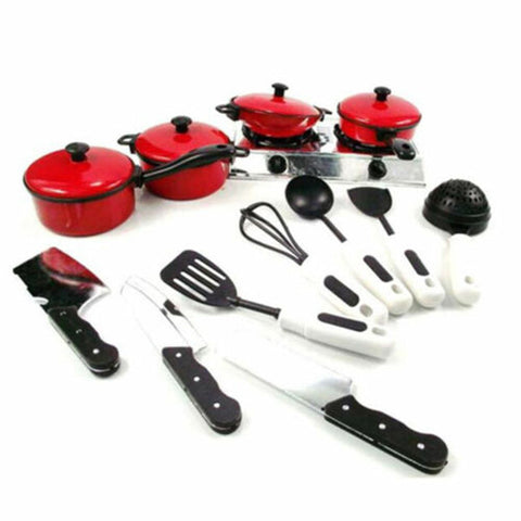 Image of 13PCS  Cooking Tool Sets Kid Play House Toy Kitchen Utensils Cooking Pots Pans Food Dishes Cookware