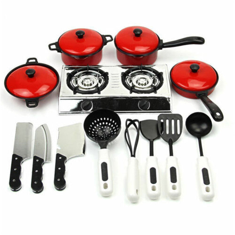 13PCS  Cooking Tool Sets Kid Play House Toy Kitchen Utensils Cooking Pots Pans Food Dishes Cookware
