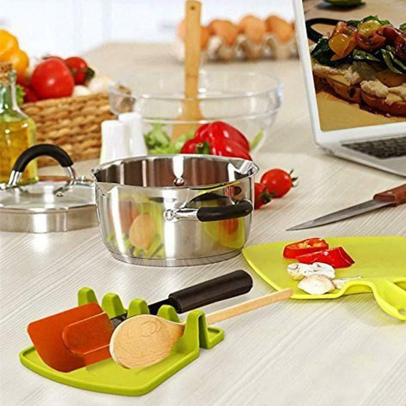 Kitchen Utensil Holder Silicone Spoon Spatula Rack Shelf Portable Multipurpose Stand