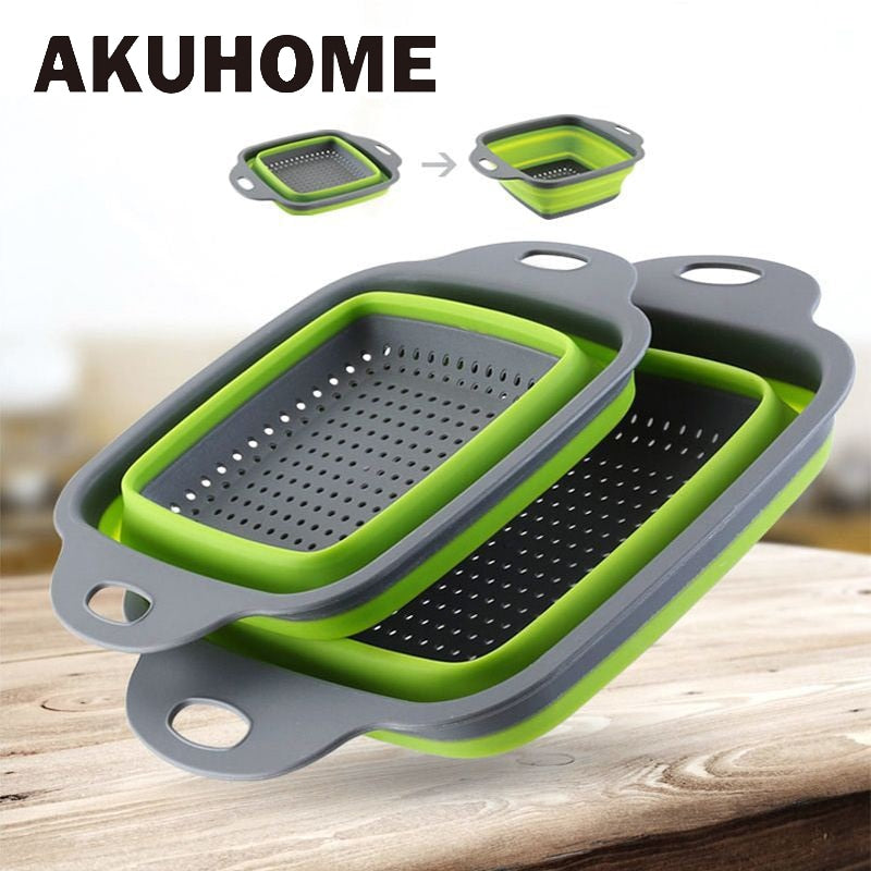 Silicone Foldable  Strainer Drain Basket Fruit Vegetable Washing Container Kitchen Tools Square Organizer Collapsible Storage