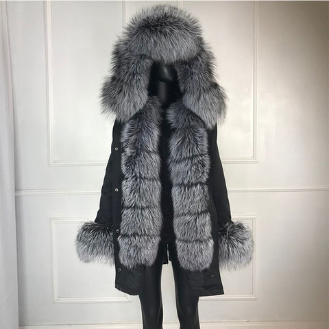 Image of real natural fox fur coat jacket parka with big large fox fur collar and fox fur liner thick warm fashion new waterproof   wome