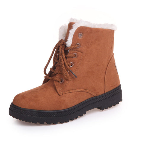 Image of Women Snow Boots Winter Warm Plush Insole Square Heel Ankle Boots Lace-Up Casual Flock Women Shoes Plus Size 44