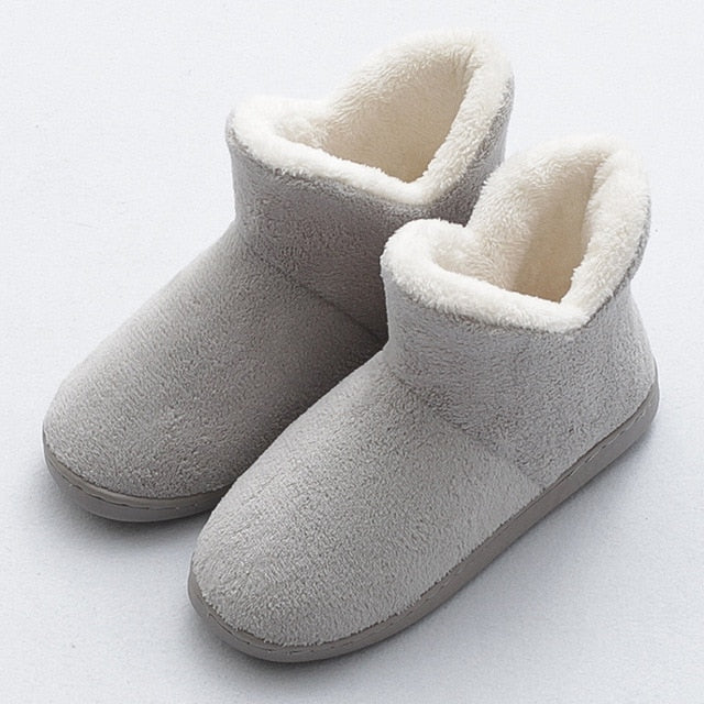 HTUUA Cozy Soft Cotton Slippers Women Winter Indoor Home Slippers High-Top Non-slip Warm Plush Couples House Shoes 36-45 SX3208