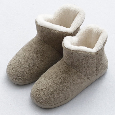 Image of HTUUA Cozy Soft Cotton Slippers Women Winter Indoor Home Slippers High-Top Non-slip Warm Plush Couples House Shoes 36-45 SX3208