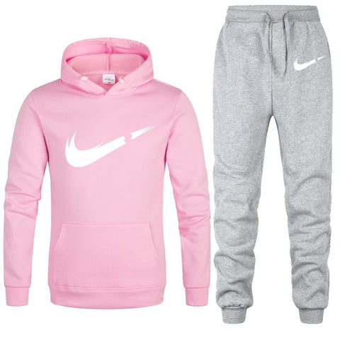 Image of Free Shipping 2019 New Brand Tracksuit Fashion Hoodies women Sportswear Two Piece Sets Fleece Thick hoody+Pants Sporting Suit