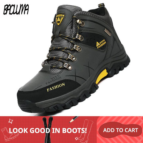 Image of Brand Men Winter Snow Boots Warm Super Men High Quality Waterproof Leather Sneakers Outdoor Male Hiking Boots Work Shoes 39-47
