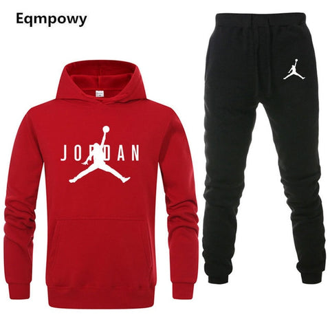 Brand Jordan Clothing Men's Casual Sweatshirts Pullover Men tracksuit Hoodies Two Piece +Pants Sport Shirts Autumn Winter Set