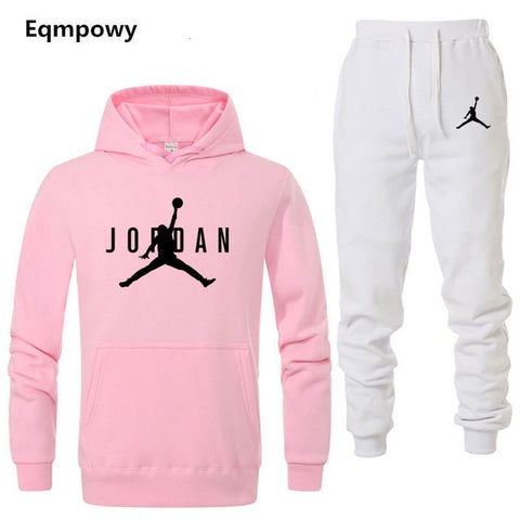 Image of Brand Jordan Clothing Men's Casual Sweatshirts Pullover Men tracksuit Hoodies Two Piece +Pants Sport Shirts Autumn Winter Set