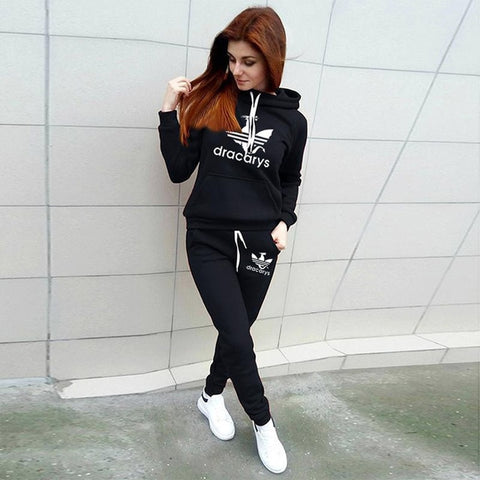 Image of 2019 Autumn Winter 2 Piece Set Women Hoodie Pants Printed Tracksuit Pullover Sweatshirt Trousers With Pockets Tracksuit Suits