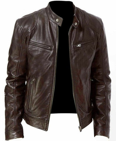 Image of PU Leather Jacket Men Black Brown Winter Autumn Fashion Mens Street Style Stand Collar Motorcycle Bomber Mens Leather Coat