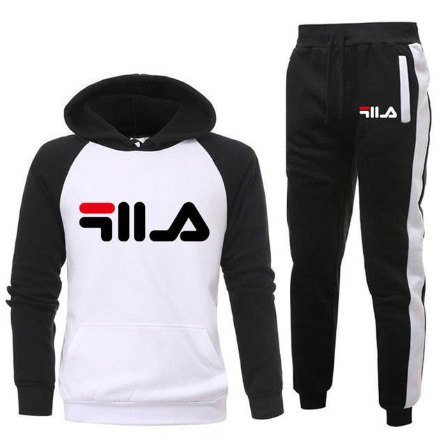 New 2019 Brand LOGO Tracksuit Fashion Men/Women Sportswear Two Piece Sets All Cotton Fleece Thick hoodie+Pants Sporting Suit Mal