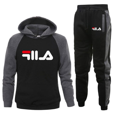 Image of New 2019 Brand LOGO Tracksuit Fashion Men/Women Sportswear Two Piece Sets All Cotton Fleece Thick hoodie+Pants Sporting Suit Mal