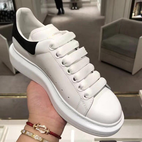Image of White Shoes Alexande Mcquen Women Men Plus Size Casual Lovers Sneakers Flat Shoes Women