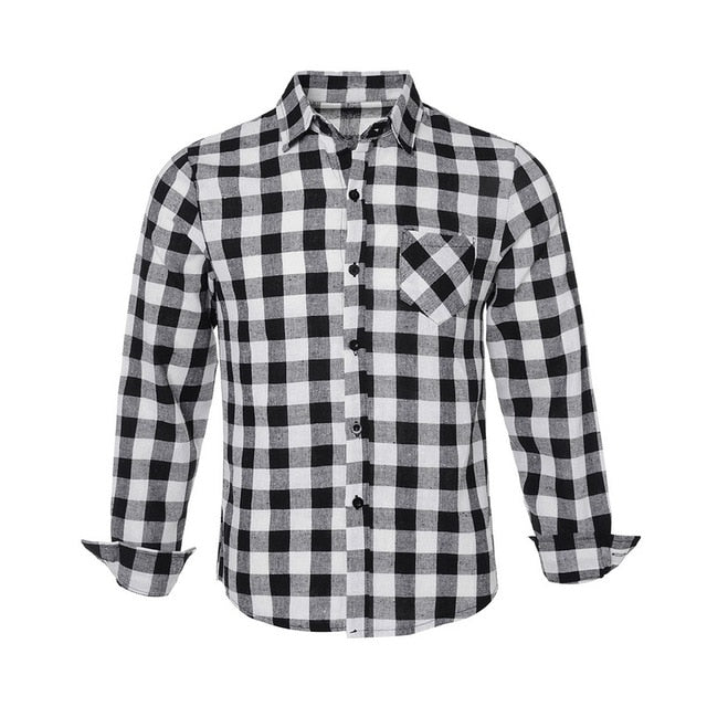Men's Shirt Checkered Shirt Fashion Men's Blouse Long Sleeve Slim  Fashion Casual plaid shirt man