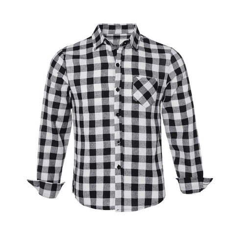 Image of Men's Shirt Checkered Shirt Fashion Men's Blouse Long Sleeve Slim  Fashion Casual plaid shirt man