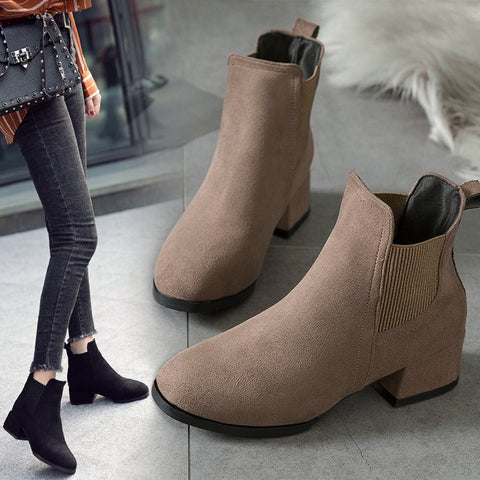 Image of Dropshipping Autumn Winter Boots Women Camel Black Ankle Boots for Women Thick Heel Slip on Ladies Shoes  Boots Bota Feminina