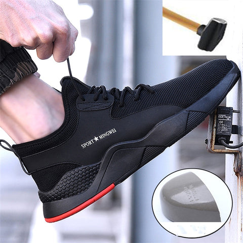 Image of Men's Steel Toe Work Safety Shoes Casual Breathable Outdoor Sneakers Puncture Proof Boots Comfortable Industrial Shoes for Men