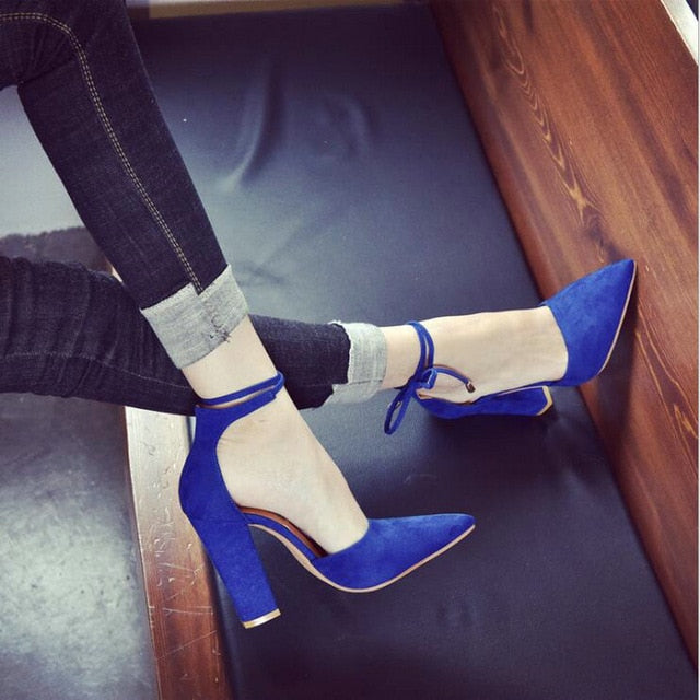 2019 Women's cross lace up Shoes Pointed toe High Heels Wedding Shoes Women Pumps Sexy High Heels sandals big size 43 LS-03
