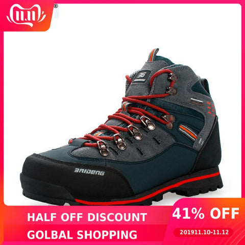 Image of 2019 Outdoor Big Size Waterproof Hiking Shoes For Men Suede Breathable Trekking Sneakers Mountain Boots Anti-Slippery Sneakers