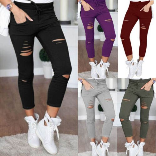 Fashion Hot Multi Women Pencil Leggings Casual Denim Skinny Holes Strap Jeans Pants High Waist Slim Jeans Trousers