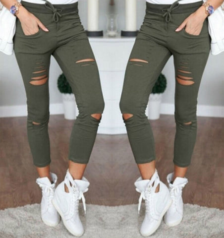 Image of Fashion Hot Multi Women Pencil Leggings Casual Denim Skinny Holes Strap Jeans Pants High Waist Slim Jeans Trousers