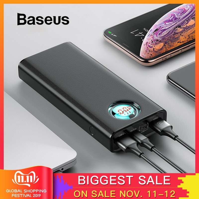 Baseus 20000mAh Power Bank For iPhone Samsung Huawei Type C PD Fast Charging + Quick Charge 3.0 USB Powerbank External Battery