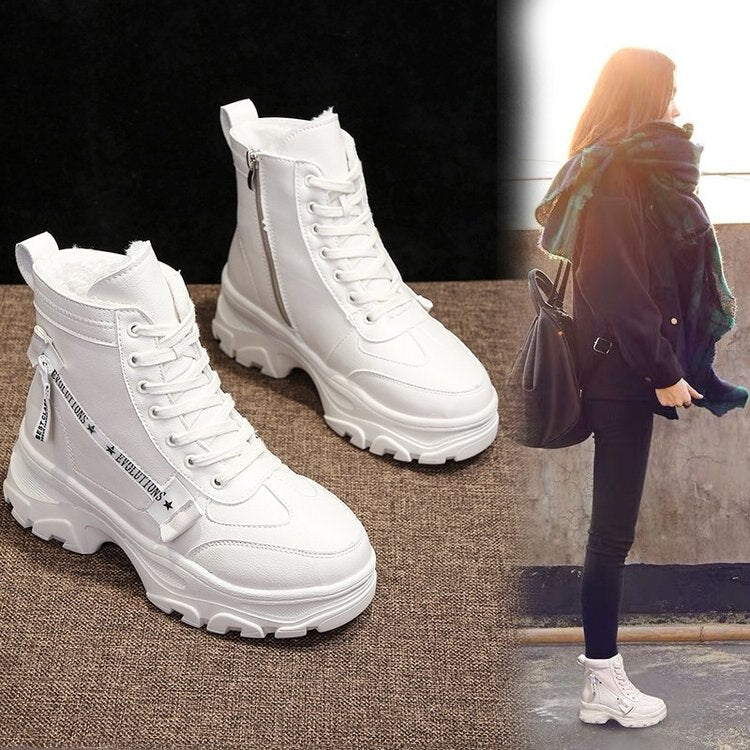 Winter Boots Women Shoes 2019 Warm Fur Plush Sneakers Women Snow Boots Women Lace-up Ankle Jason Matins Boots Woman Botas Mujer