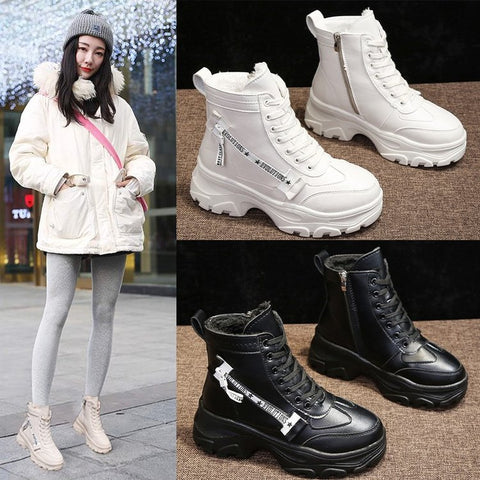 Image of Winter Boots Women Shoes 2019 Warm Fur Plush Sneakers Women Snow Boots Women Lace-up Ankle Jason Matins Boots Woman Botas Mujer