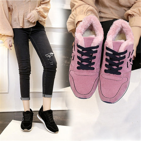 Image of 2019 New Women shoes Winter shoes Casual Ankle Boots Warm Winter Shoes women snakers wedge shoes