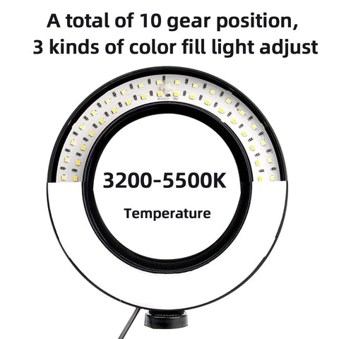 MountDog 10 inch Photography LED Selfie Ring Light 26CM Dimmable Ring Lamp For Makeup Youtube Video Live Studio With Table Tripo