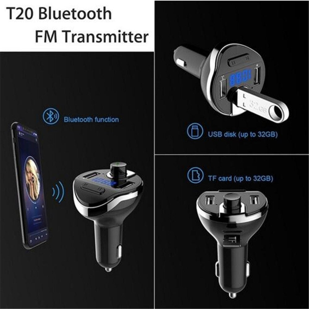 Bluetoot Wireless Car MP3 Player Hands Free Kit FM Modulator Dual USB Charger TF Card music Bluetooth Audio Receiver Transmitter