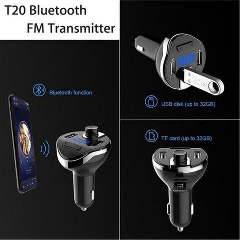 Image of Bluetoot Wireless Car MP3 Player Hands Free Kit FM Modulator Dual USB Charger TF Card music Bluetooth Audio Receiver Transmitter