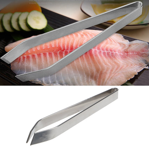 Image of VFGTERTE 1PC Stainless Steel Fish Bone Vegetable Peeling Tweezer Remover Pincer Clamp Useful Kitchen Tools Tongs 12cm