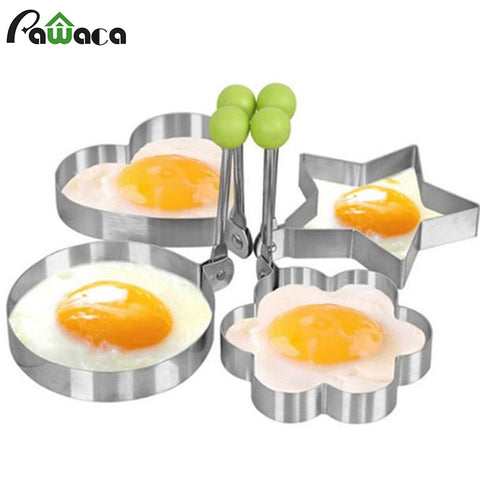 Image of Creative Four Shapes Stainless Steel Fried Egg Maker Pancake Mold Home DIY Breakfast Egg Sandwich Kitchen Baking Utensil Tools