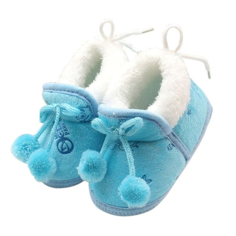 Image of Winter Sweet Newborn Baby Girls Princess Winter Boots First Walkers Soft Soled Infant Toddler Kids Girl Footwear Shoes