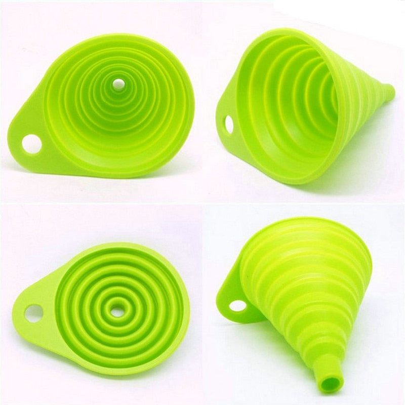 Silicone Gel Foldable Collapsible Style Funnel Hopper Kitchen Cooking Tools Accessories Gadgets Chocolate Cake Tools
