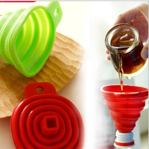 Image of Silicone Gel Foldable Collapsible Style Funnel Hopper Kitchen Cooking Tools Accessories Gadgets Chocolate Cake Tools