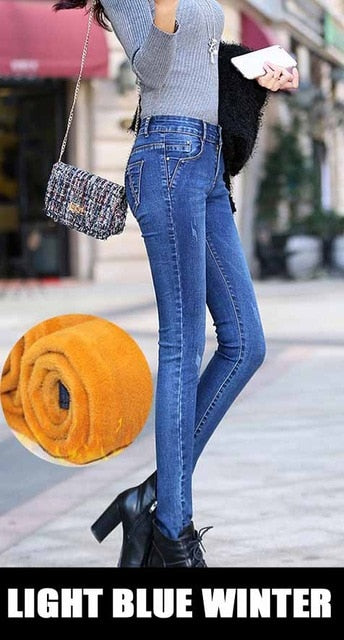 Winter Jeans woman 2018 warm Female Pencil Pants ladies Plus size Slim Feet Jeans long Trousers Women Jeans femme Plus size