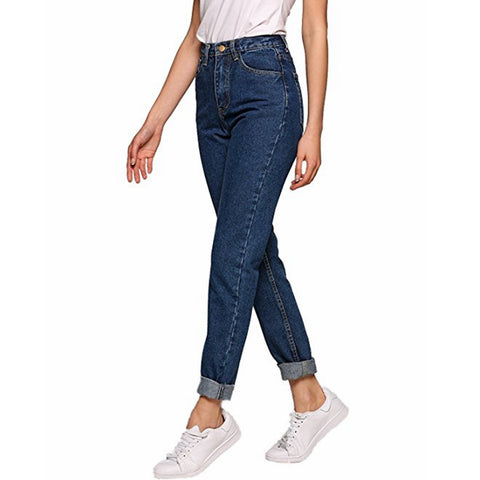 Image of Vintage ladies boyfriend jeans for women mom high waisted jeans blue casual pencil trousers korean streetwear denim pants