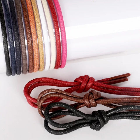 Image of 1Pair Waxed Cotton Round Shoe laces Leather Waterproof ShoeLaces Men Martin Boots Shoelace Shoestring Length 80/100/120/140CM P2