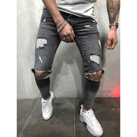 Image of Fashion Streetwear Men's Jeans Vintage Blue Gray Color Skinny Destroyed Ripped Jeans Broken Punk Pants Homme Hip Hop Jeans Men
