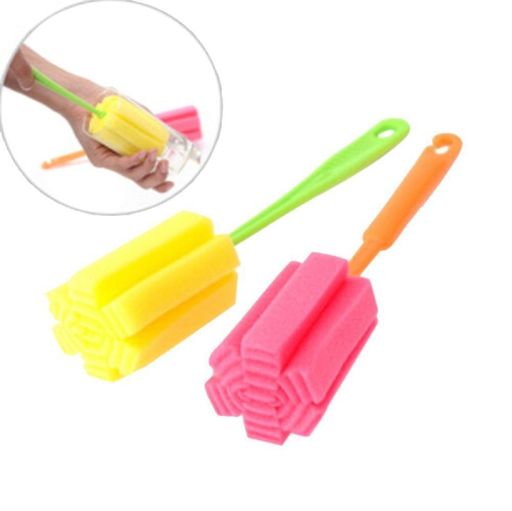 2 PCS kichen Cleaning Tool Bottle Coffe Tea Glass Cup Mug Sponge Cleaning Washing Brush (Random Color)
