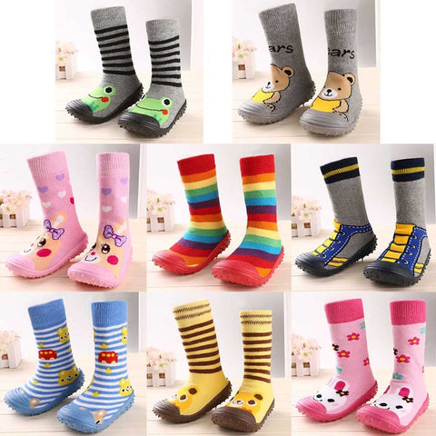 Newborn Baby Boys Girls Socks With Anti-Slip Soft Rubber Soled Outdoor Foot Socks Infant Children Animal Cartoon Floor Booties