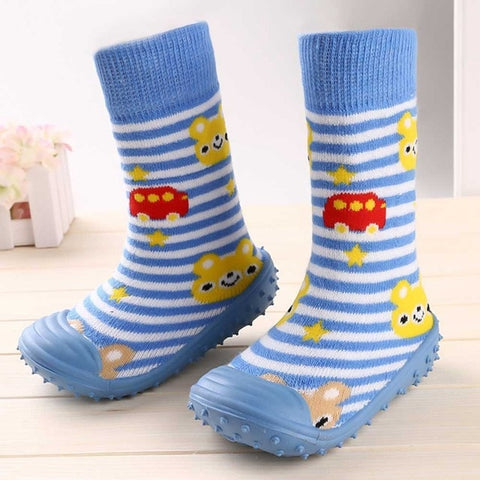 Image of Newborn Baby Boys Girls Socks With Anti-Slip Soft Rubber Soled Outdoor Foot Socks Infant Children Animal Cartoon Floor Booties