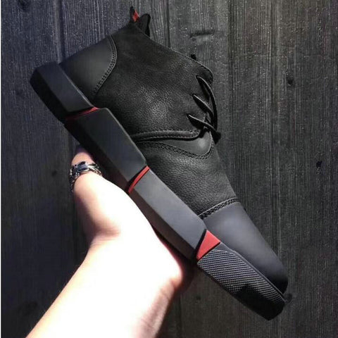 Image of NEW Brand High quality all Black Men's leather casual shoes Fashion Breathable Sneakers fashion flats  big plus size 45 46 LG-11