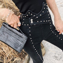 Load image into Gallery viewer, TWOTWINSTYLE Heavy Rivets Jeans For Women High Waist Tunic Ankle Length Denim Trousers Female Fashion Pencil Pants 2019 Autumn