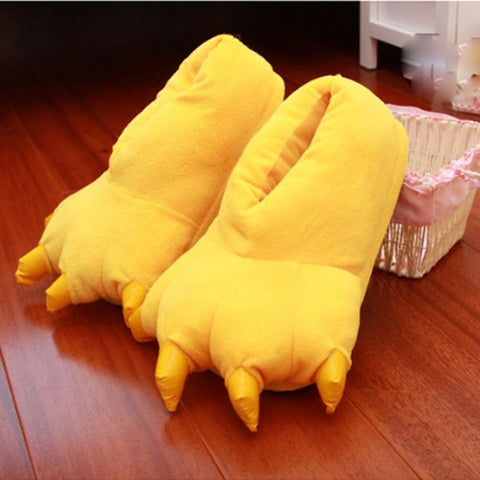 Image of 2018 Winter Warm Soft indoor floor Slippers Women Men Children Shoes Paw Funny Animal Christmas Monster Dinosaur Claw Plush Home