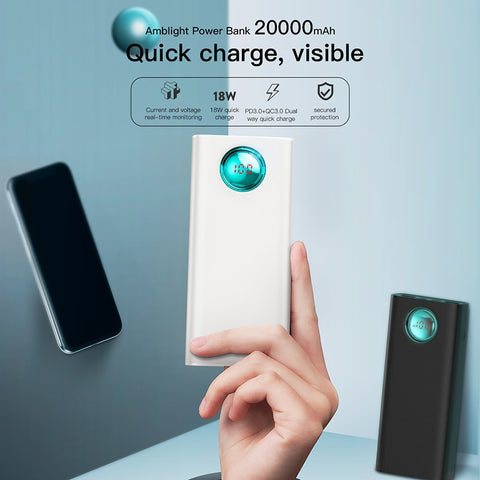 Image of Baseus 20000mAh Power Bank For iPhone Samsung Huawei Type C PD Fast Charging + Quick Charge 3.0 USB Powerbank External Battery