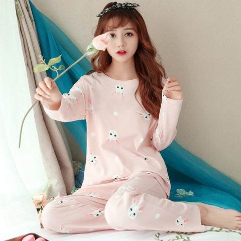 Image of JULY'S SONG Women Pajamas Set Spring Autumn New Thin Cartoon Printed Long Sleeve Cute Sleepwear Casual Homewear Female Pyjamas