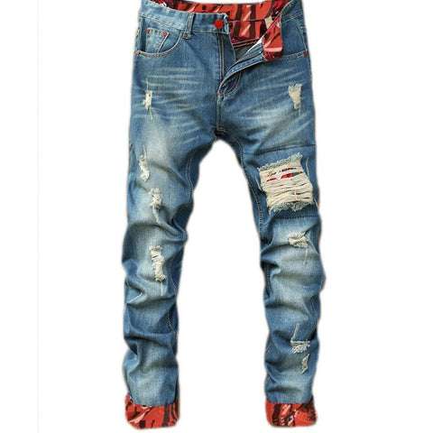 Image of 2018 Autumn New Retro Hole Jeans Men Ankle-Length Pants Cotton Denim Trouser Male Plus Size High Quality